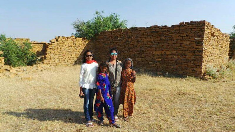 debshree with villagers